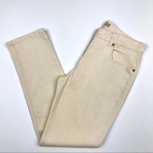 Michael Kors Ivory Tapered Stretch Denim Jeans